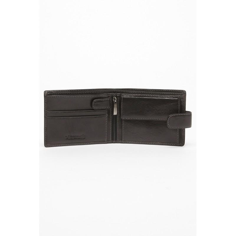 Кожаный кошелек мужской Francesco Marconi черный c хлястиком FM-60126