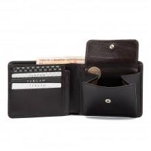 Кожаный кошелек мужской TERGAN черный с монетницей S1CE00001308