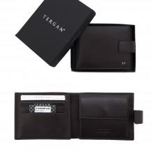 Кожаный кошелек мужской TERGAN темно-коричневый с хлястиком S1CE00001109
