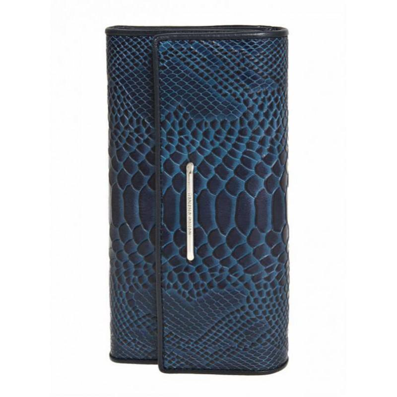 Женский кожанный кошелек Francesco Marconi синий с теснением 63025sl  - фото 1