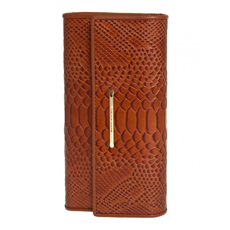 Женский кожанный кошелек Francesco Marconi коричневый с теснением 63025sl   - фото 1