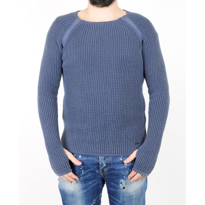 Лонгслив мужской ENRICO BELENO 14814 COTTON ROUND-NECK PULLOVER NAVY BLUE  - фото 1