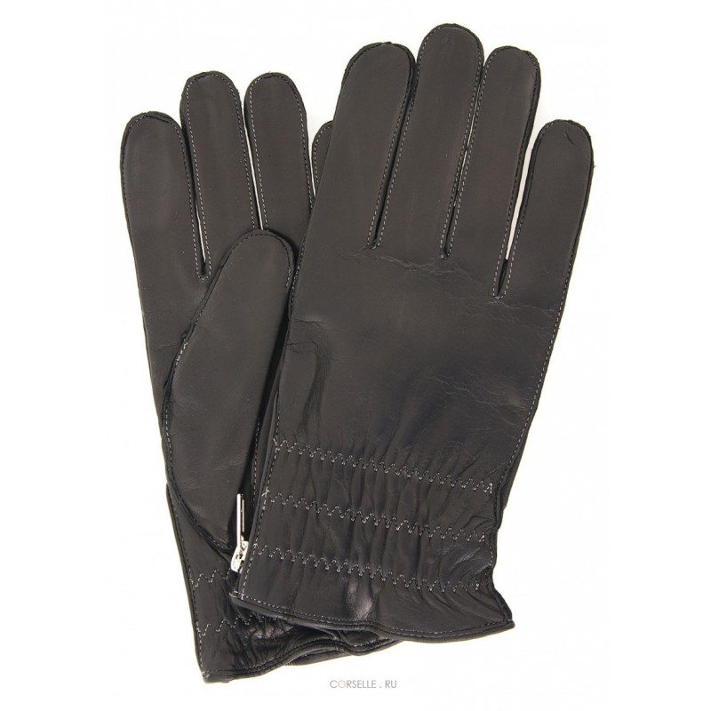 Перчатки мужские Francesco Marconi кожаные черные 100% шерсть подкладка 2175P
