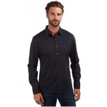 Мужская брендовая рубашка ENRICO BELENO 16215 PRINTING MERCERIZED SHIRT NAVY BLUE