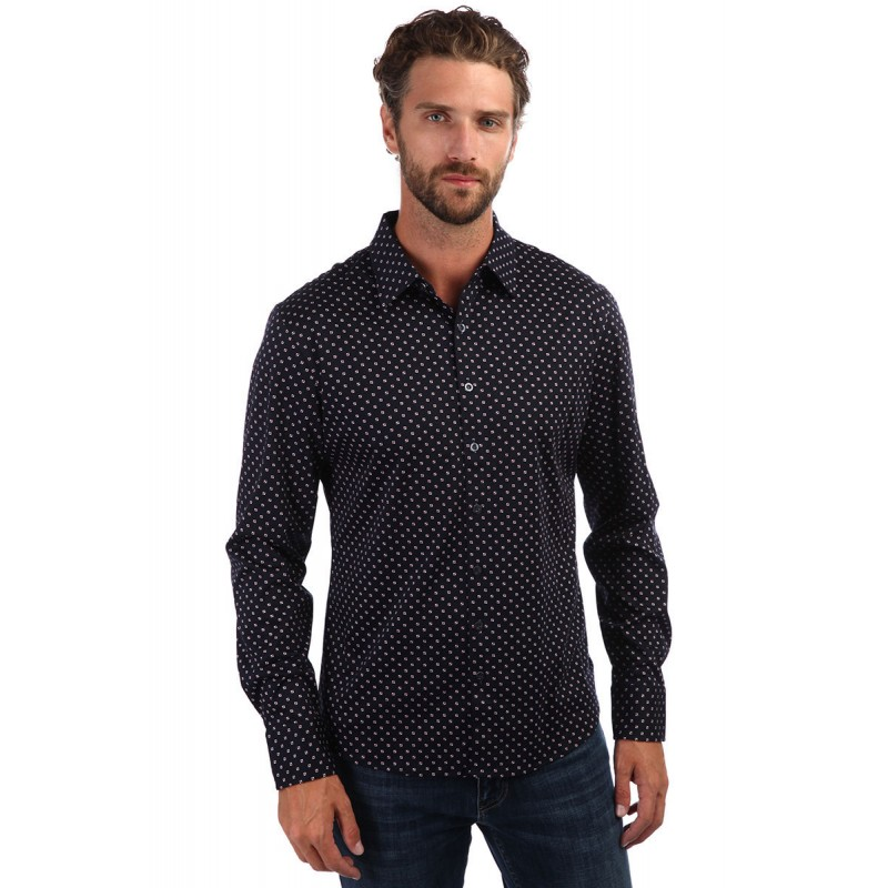 Мужская брендовая рубашка ENRICO BELENO 16215 PRINTING MERCERIZED SHIRT NAVY BLUE   - фото 1