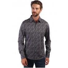 Мужская брендовая рубашка ENRICO BELENO 16242 DIGITAL PRINTING SLIM FIT MERCERIZED SHIRT BLACK & W