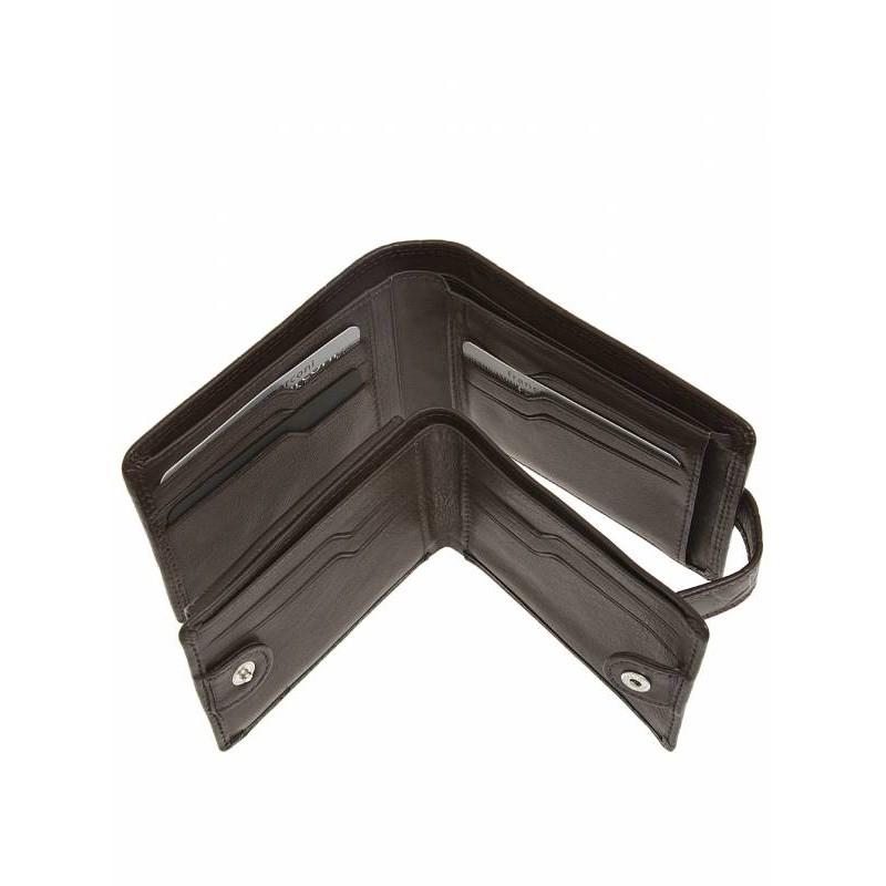 Кожаный кошелек мужской Francesco Marconi черный c хлястиком 30074fa
