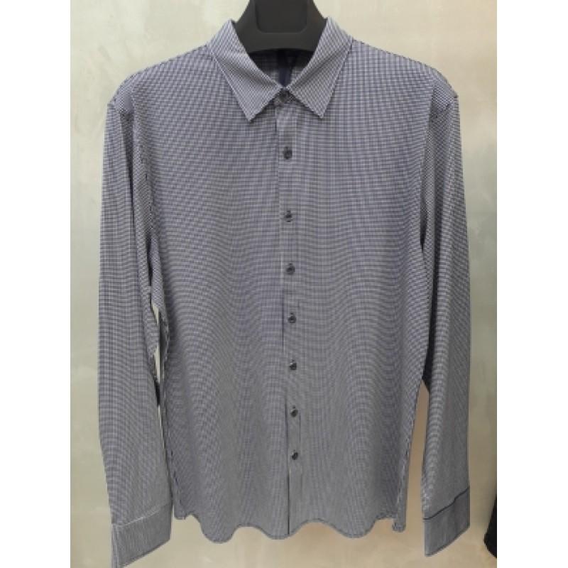 Мужская брендовая рубашка ENRICO BELENO 16218 PRINTING MERCERIZED SHIRT NAVYBLUE & WHITE  - фото 1