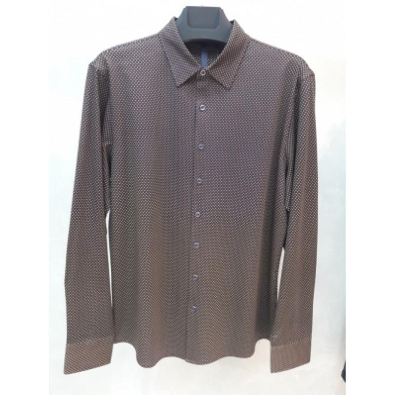 Мужская брендовая рубашка ENRICO BELENO 16219 PRINTING MERCERIZED SHIRT NAVY BLUE & MUSTARD