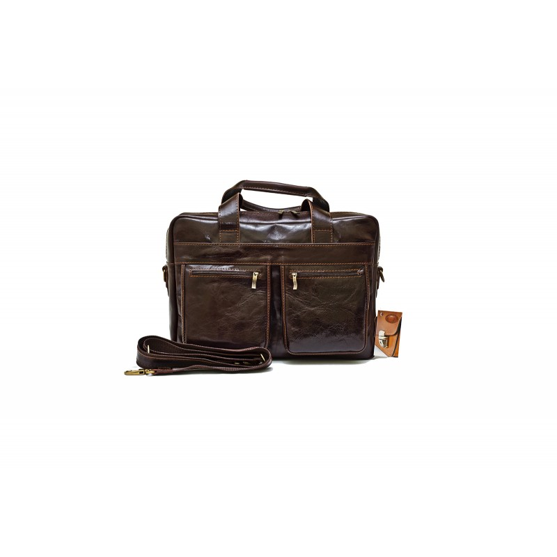 """Сумка НОУТБУК А-4 КРОН кожаная коричневая глянцевая под ноутбук 15.6"""" ноутбук"""