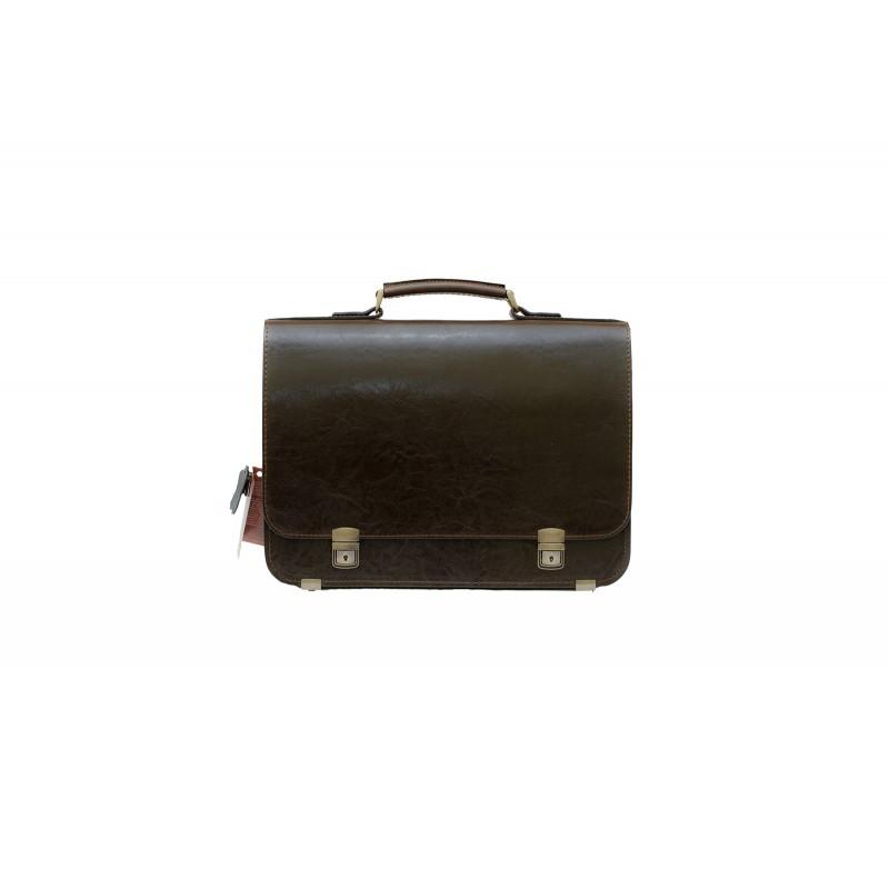 Портфель мужской кожаный KRON коричневый  БРУТАЛ 3 отдела