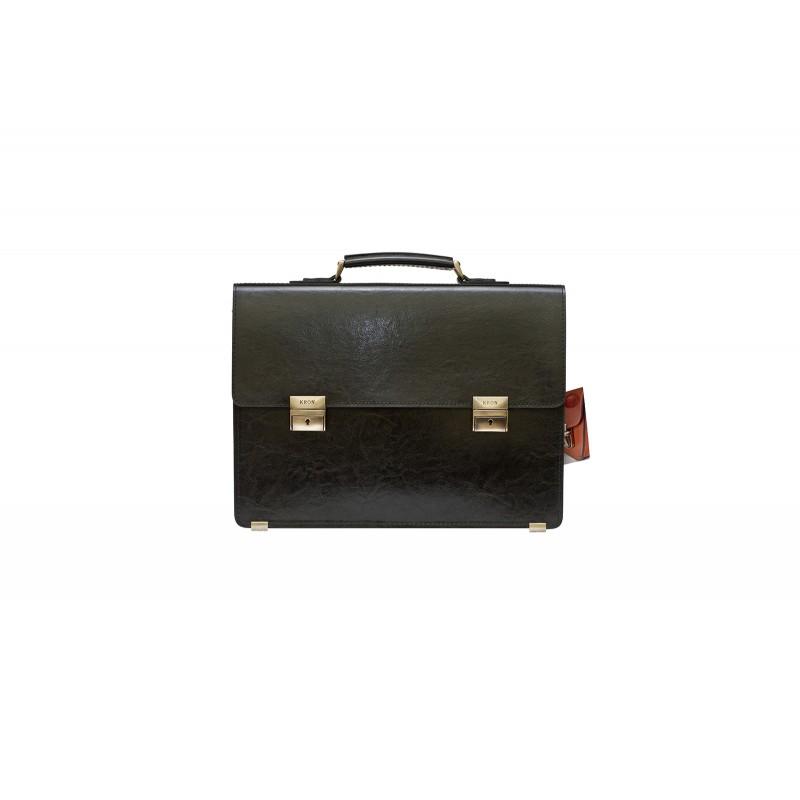 Портфель мужской кожаный KRON черный  А-4 2 отдела