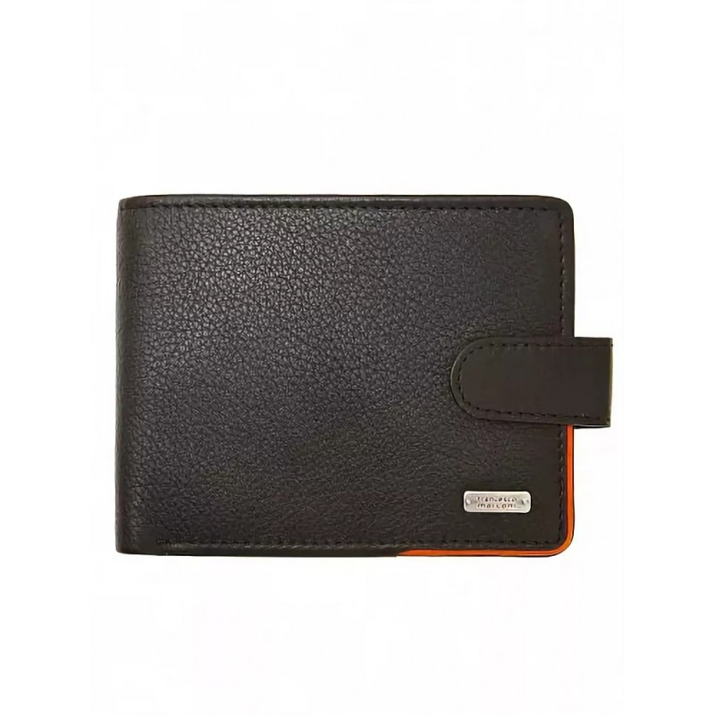 Кожаный кошелек мужской Francesco Marconi черный c хлястиком 40064ed