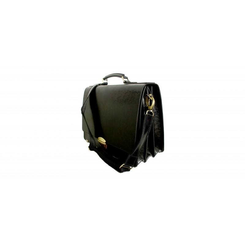 Портфель мужской кожаный KRON черный  АКАДЕМИК 3 отдела