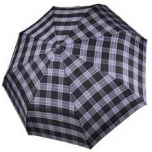 Мужской зонт ТРИ СЛОНА с ручкой крюк в клетку 3 сложения автомат арт.730