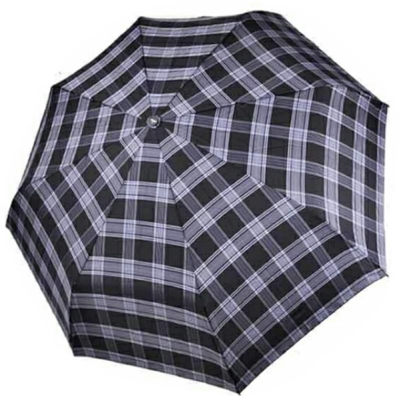 Мужской зонт ТРИ СЛОНА с ручкой крюк в клетку 3 сложения автомат арт.730  - фото 1