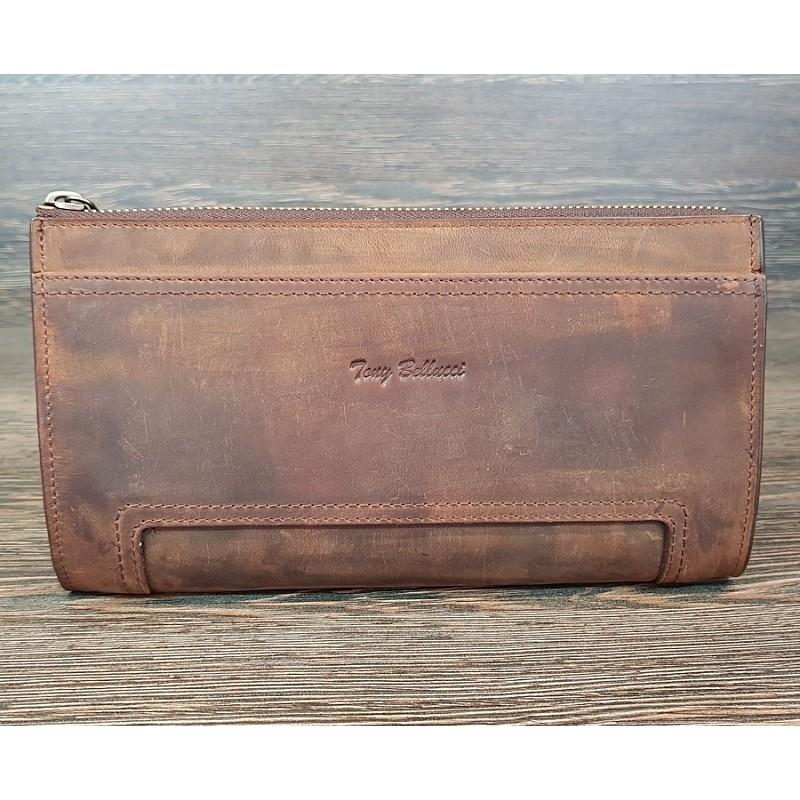 Мужской клатч TONY BELLUCCI коричневый кожаный на замке T-890-06  - фото 1